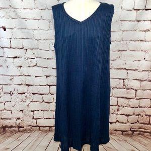 Marina Rinaldi Navy Blue Ribbed V-Neck Swing Dress